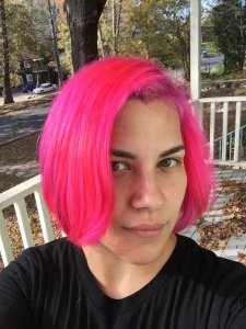 Also, my hair is BRIGHT PINK! It's so awesome; I'm basically Jem right now.